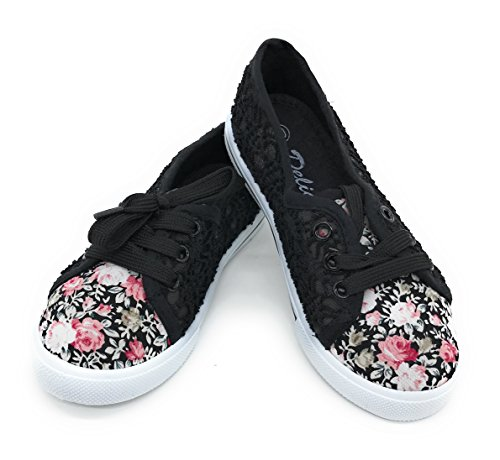 EASY21 Baby Toddler Kids Girls Canvas Casual Sneaker Shoes (3 M US Little Kid, Black ROSE30)