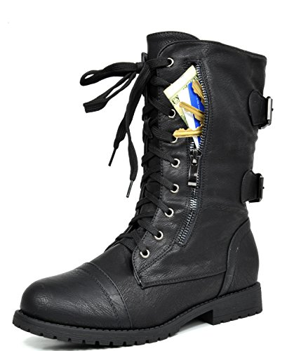 DREAM PAIRS Women's Terran Black Mid Calf Built-in Wallet Pocket Lace up Military Combat Boots - 8.5 M - Combat Boots