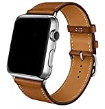 Apple Watch Band 42mm,Voken Genuine Leather iwatch Strap Replacement Band with Stainless Metal Clasp for Apple Watch Series 3/2/1 Sport and Edition (Brown, 42mm)