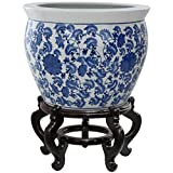 "Oriental Furniture 16"" Floral Blue & White Porcelain Fishbowl"