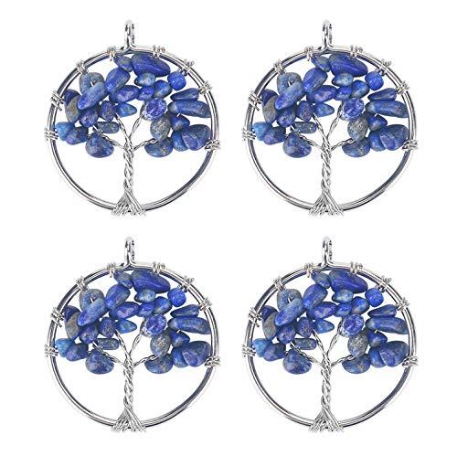 Wholesale 4 PCS Family Tree of Life Pendant Handmade Wire Wrapped Lapis Lazuli Quartz Chakra Bulk for Jewelry Making