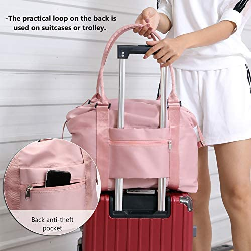 Forestfish Carry On Luggage Bag Sports Gym Bag Travel Duffel Bag, Pink