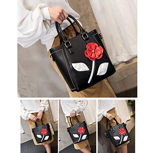 Pu Croix Abby De Bandoulière Sac blanc Fleur À Main Femme Rose 3d Noir Cuir rIq8RI