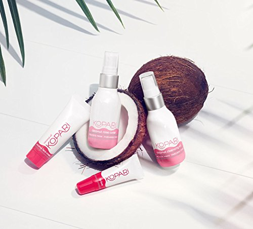 Kopari Face the Day & Night Kit - This Travel Size Coconut Skincare System includes our Coconut Cleansing Oil, Coconut Rose Toner, Coconut Face Cream and Coconut Lip Love