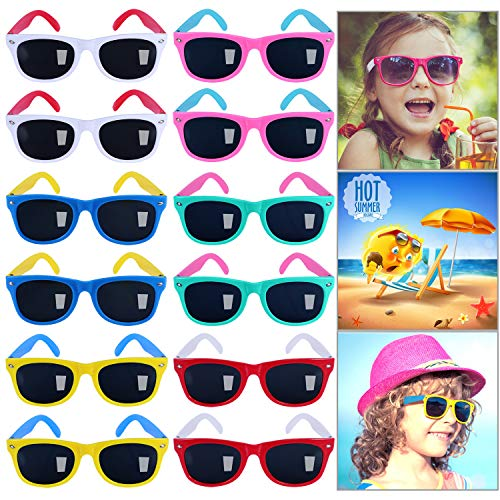 GINMIC Kids Sunglasses Party Favors,12Pack Neon Sunglasses for Kids,Boys and Girls, Great Gift for Birthday Party Supplies, Beach, Pool Party Favors, Fun Gift, Party Toys, Goody Bag Favors - 80's ()