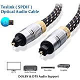 DHIVIS Optical Audio Cable, 3 Meters, SPDIF Audio Cable, Support Dolby Digital Plus, DTS-HD