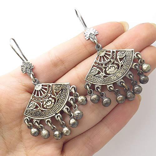 VTG Signed 925 Sterling Silver Maze Floral Design Fan Dangling Earrings ()
