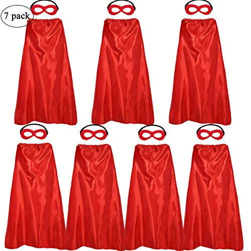 Red Adult Superhero Capes and Masks Bulk for Men Women Costume-Super Hero Spirit Party Activity, 7 Pack ()