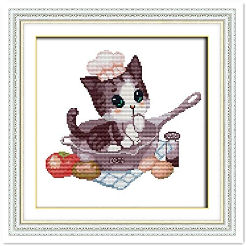 Kitty Cross-Stitch Chinese Counted Cross Stitch Patterns DMC Cross Stitch Fabric Kits-for-Embroidery Home Decor Needlework