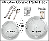 Party Combo Pack-600 Pieces, Premium Plastic CLEAR Scroll Plates, Silver ...