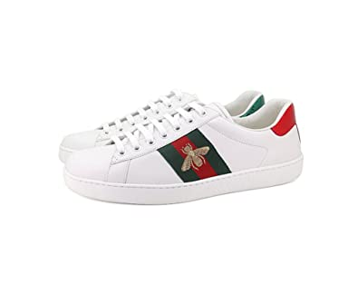 new,Gucci Men\u0027s Embroidered Print Casual White Shoes