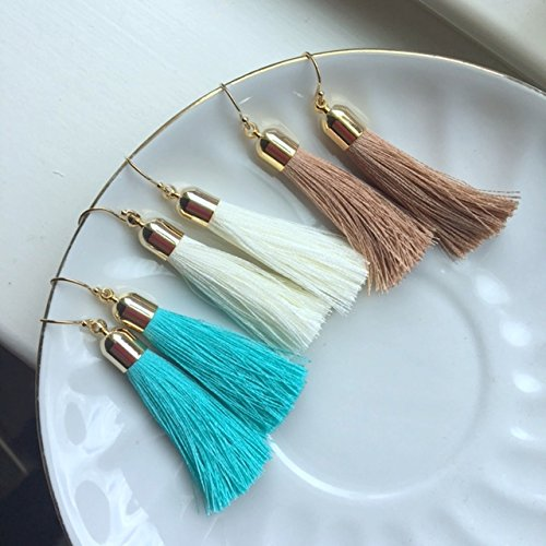 3c1facb0b0933b Amazon.com: Tassel Earrings Fringe Earrings Turquoise White Beige Taupe 14k  Gold Filled Earwires Tassel Jewelry: Handmade