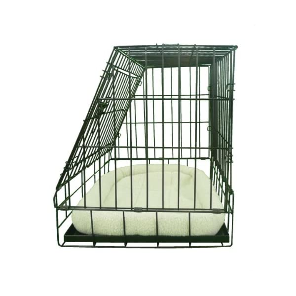 Ellie-Bo Deluxe Sloping Puppy Cage Folding Dog Crate with Non-Chew Metal Tray Fleece and Slanted Front for Car 6