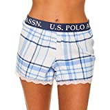 U.S. Polo Assn.. Womens Plaid Flannel Pajama Lounge Shorts with Lace Trim Light Blue Medium
