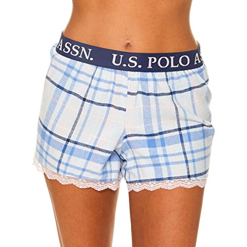 Plaid Logo Elastic Flannel - U.S. Polo Assn. Womens Plaid Flannel Pajama Lounge Shorts with Lace Trim Light Blue Large