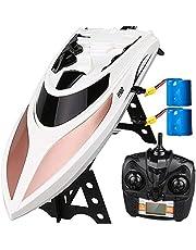 Virhuck Barco RC de Alta Velocidad de 38 KM / H, 2.4GHz, 2 baterias, Giro de 180 °, Distancia Remota de 164 Yardas, Alarma de Bajo Voltaje, Control Remoto Eléctrico Barco de Carreras Navidad Gris