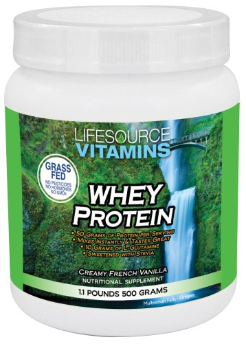 (LifeSource Vitamins 1.1 lb Grass Fed Whey Protein Isolate (Creamy French Vanilla) w/Stevia)