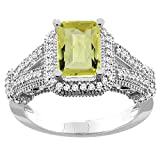 10K White/Yellow/Rose Gold Natural Lemon Quartz Ring Octagon 8x6mm Diamond Accent, sizes 5-10