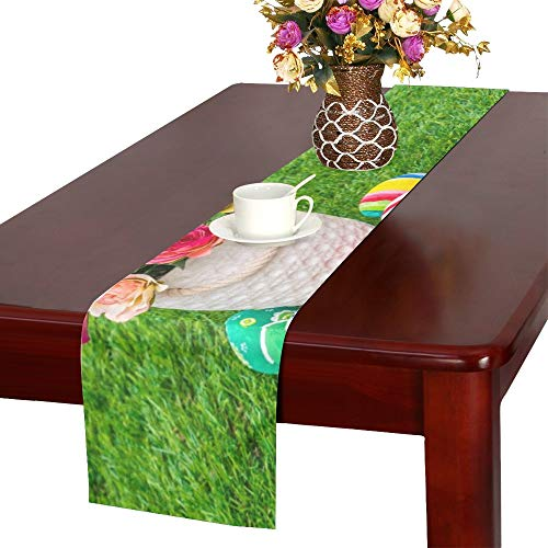 WUTMVING Easter Eggs Artificial Flower On Fresh Table Runner, Kitchen Dining Table Runner 16 X 72 Inch for Dinner Parties, Events, Decor