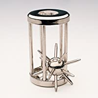 "Bits and Pieces - Trapped Satellite Metal Brainteaser Puzzle - Metal Spiked Ball In Steel Chamber - Brainteaser Puzzle Measures 3"" x 1"""