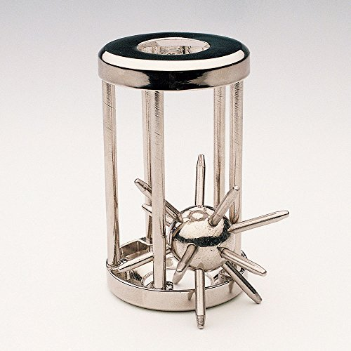 Bits and Pieces - Trapped Satellite Metal Brainteaser Puzzle - Metal Spiked Ball In Steel Chamber - Brainteaser Puzzle Measures 3