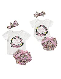 Puseky Big Sister Baby Sister Matching Outfits Floral Cycle Print Tops Tutu Shorts Headband Set (Color : White, Size : Baby Sister-0-6M)