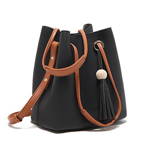 Hobo Pacchetti Donna Spalla grigio Borse Pu Donna Shoulder Handbag Messenger A 2018 Due Bag Nclon Tracolla Nero Pelle Nuovo wqHH67