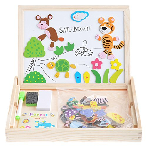 Wooden Kids Toy Magnetic Board Puzzle Games 100 Pieces, Satu