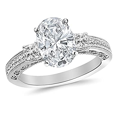 2.1 Carat t.w. Oval Three 3 Stone Princess Cut Channel Set Diamond Engagement Ring I-J/VVS2 Clarity Center Stones.