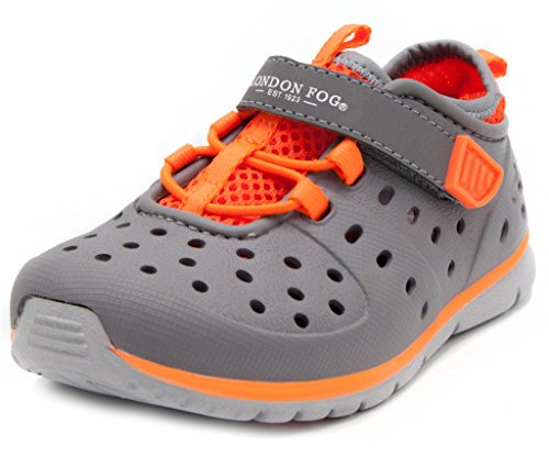 London Fog Mud Puppies from Pool to Play Sneaker Sandal Water Shoes Grey/Orange (Ivory Pool)