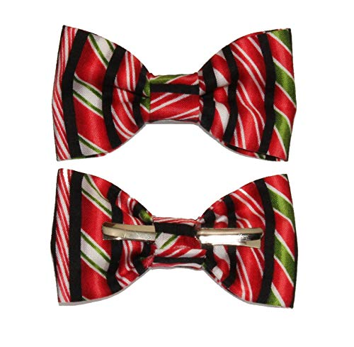 Toddler Boy 4T 5T Black Red Green Candy Cane Clip On Cotton Bow Tie Bowtie by amy2004marie