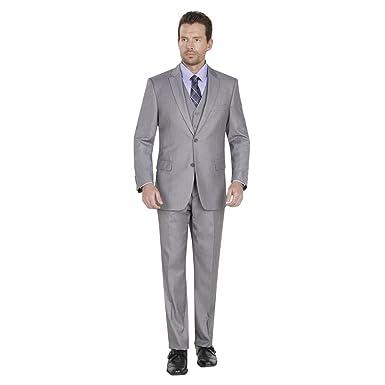 Giorgio Fiorelli Mens Suit 2 Button 3 Piece Modern Fit Grey 38R