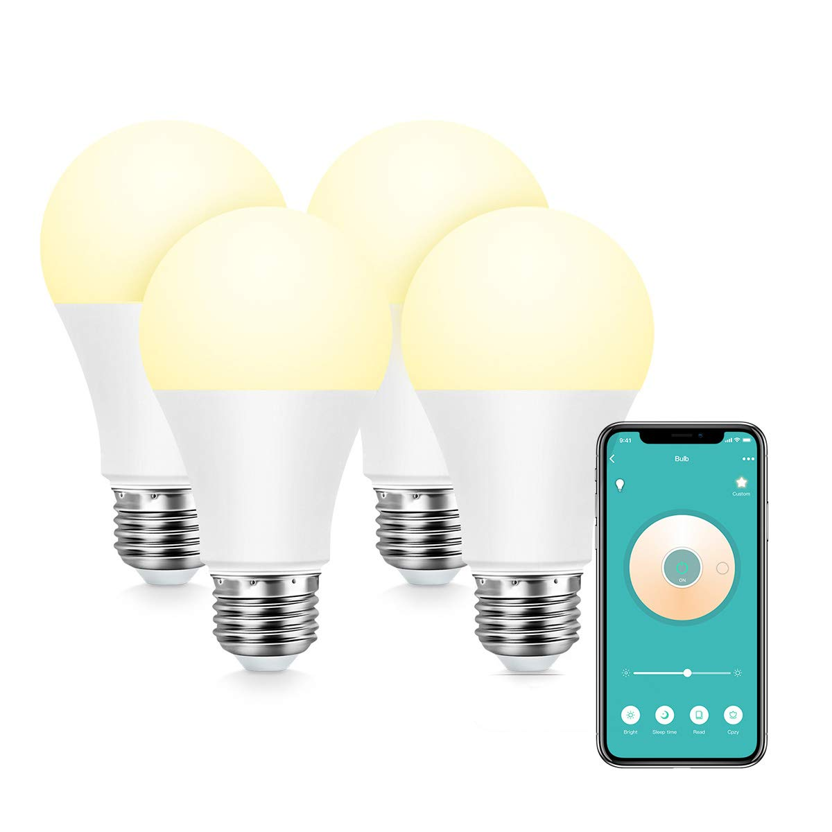 Konke Smart WiFi LED Bulb Dimmable,A19,E26,9W,Works with Alexa,Google  Home,Assistant, No Hub Required,Colour Temp Adjustable,White,4Pack