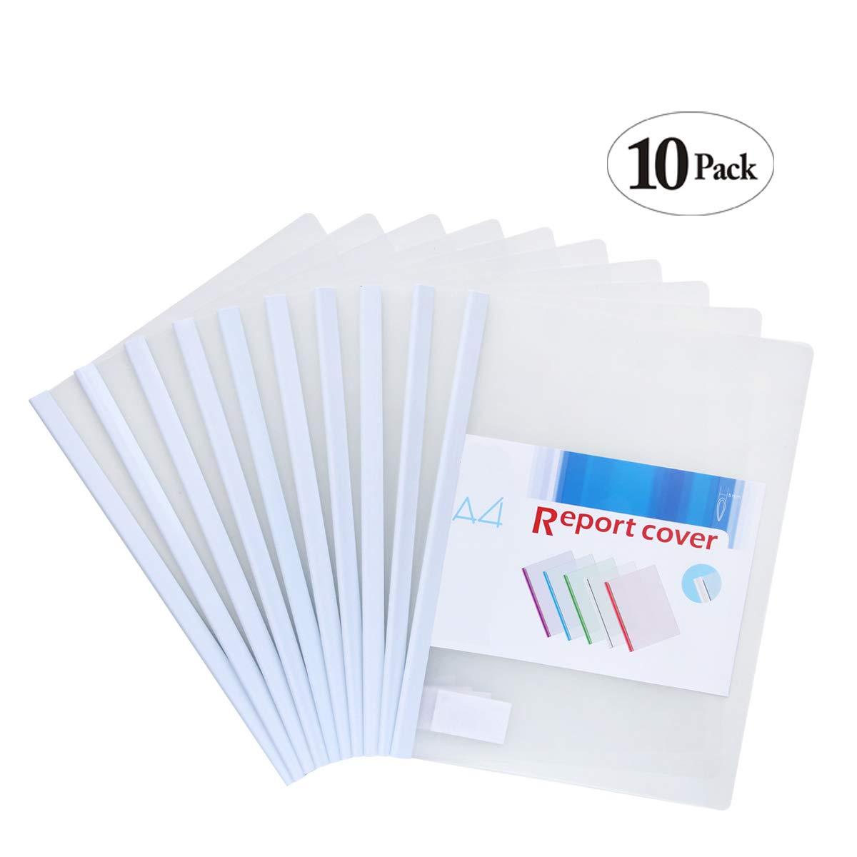 Afeelrich Plastic File Folder Sliding Bar,Report Folder Office School Supplies Transparent Resume Presentation File Folders Organizer Binder for A4 Size Paper, (5 Color) (White)
