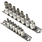Anytime Tools Professional Grade 15 piece T10, T15, T20, T25, T27, T30, T40, T45, T47, T50, T55, T60 STAR Torx Tamper Proof Security Sockets