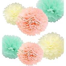 Fonder Mols 12pcs Tissue Pom Poms Mixed Sizes 8'' 10'' Ivory Peach Mint Paper Flowers Wedding Bridal Shower Party Fluffy Decoration