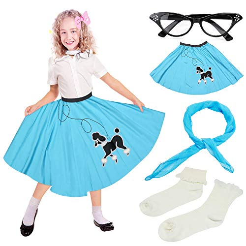 Beelittle 50s Girls Costume Poodle Skirt 50s' Accessories Set - Poodle Skirt for Kids,Chiffon Scarf, Cat Eye Glasses, Bobby Socks (H-Blue)
