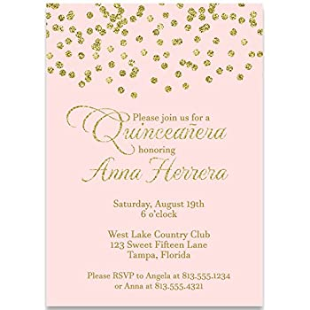 Amazon Com Party Invitations Confetti Quinceanera Invitation