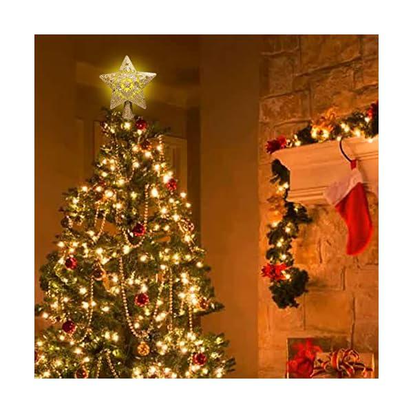 Sulida Luce superiore dell'albero di Natale, stella brillante cava 3D, decorazione per albero di Natale, albero di Natale, proiettore di stella girevole LED luci (oro) 4 spesavip