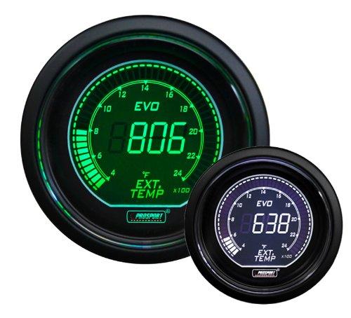 Exhaust Temperature Egt Gauge - EGT Exhaust Gas Temperature Gauge- EVO Series Green and White Digital 52mm (2 1/16