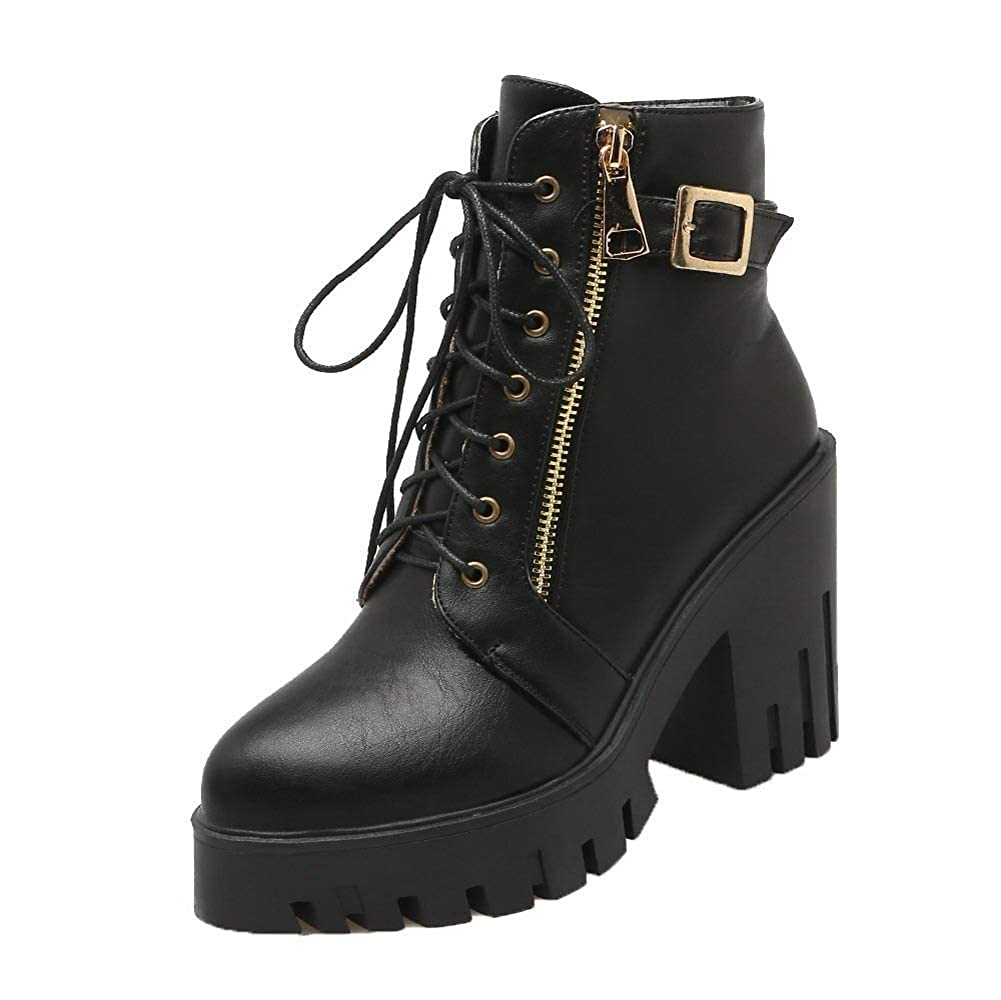 AMGXY111952 WeenFashion Womens Low-Top Solid Zipper Closed-Toe High-Heels Boots