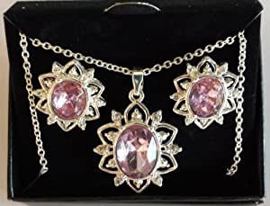 Avon Necklace & Earrings Gift Set - Birthstone Amethyst Color