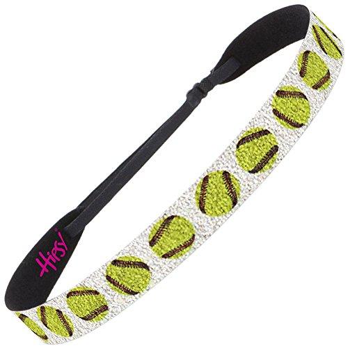 Hipsy Adjustable No Slip Baseball & Softball Hair Headbands for Women & Girls (Wide Sparkly Fast Pitch 1pk) ()
