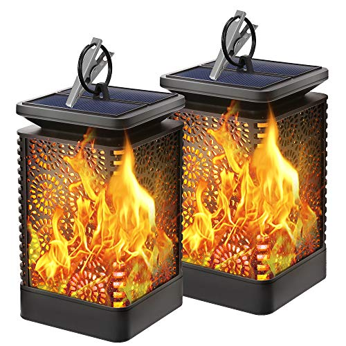 Solar Lanterns Outdoor - KeShi Hanging Solar Lights with Dancing Flames Waterproof Outdoor Lanterns Auto On/Off Lighting Dusk to Dawn 96 Bright LED for Yard Garden Patio Camping(2 Pack)