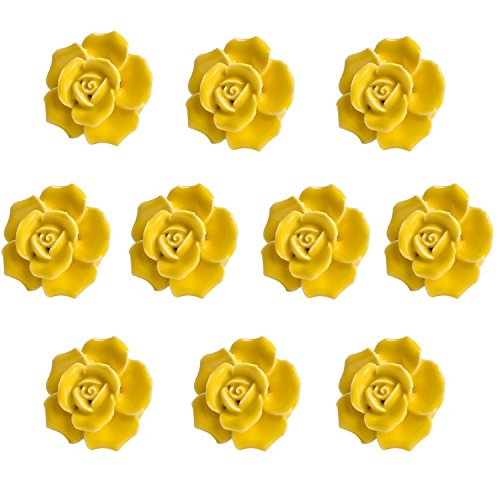 Agile-Shop 10 Pcs Ceramic Vintage Floral Rose Flower Door Knobs Handle Drawer Kitchen + Screws (Yellow) - Yellow Flower Drawer Pull