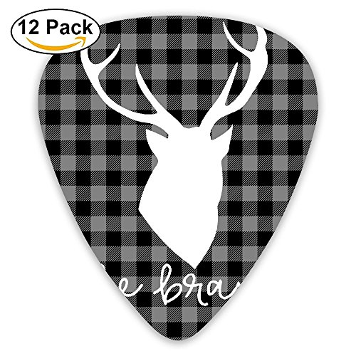 Libra Black Custom Plaid Moose Buffalo Acoustic Thin Heavy Medium Acoustic Guitar Picks Unisex 12 Packs Cigar Box Guitar