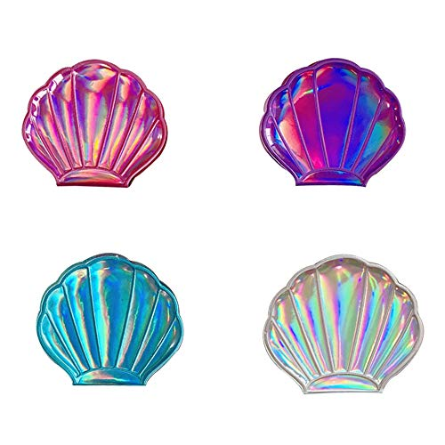 4 Color Shell Mirror, Double-sided Magnification Makeup Mirror, Girls Compact - Shell Shaped Bathroom Mirrors