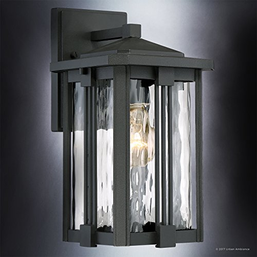 Luxury Craftsman Outdoor Wall Light, Small Size: 12.25''H x 6.5''W, with Mid-Century Modern Style Elements, Vertical Stripes Design, Natural Black Finish and Water Glass, UQL1050 by Urban Ambiance by Urban Ambiance (Image #2)