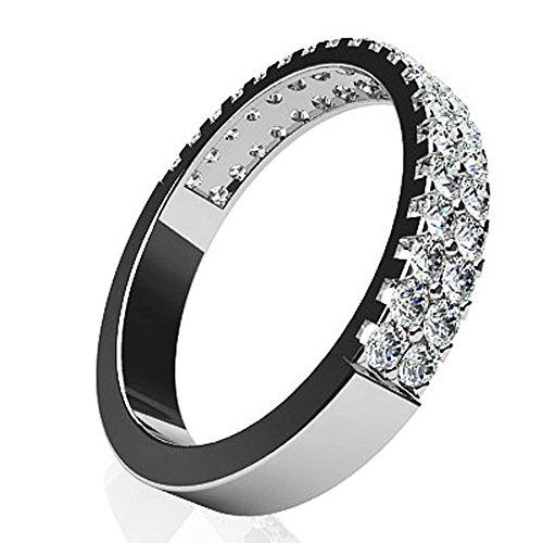 Or blanc 14K Mer des diamants Mariage Band
