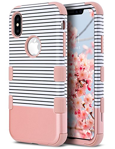 ULAK Protective Case for iPhone Xs 5.8 Inch 2018, iPhone X 2017,Heavy Duty Protection Hybrid Soft Silicone Rubber & Hard PC Anti-Slip Grip Cover Support Wireless Charging, Rose Gold Minimal Stripes